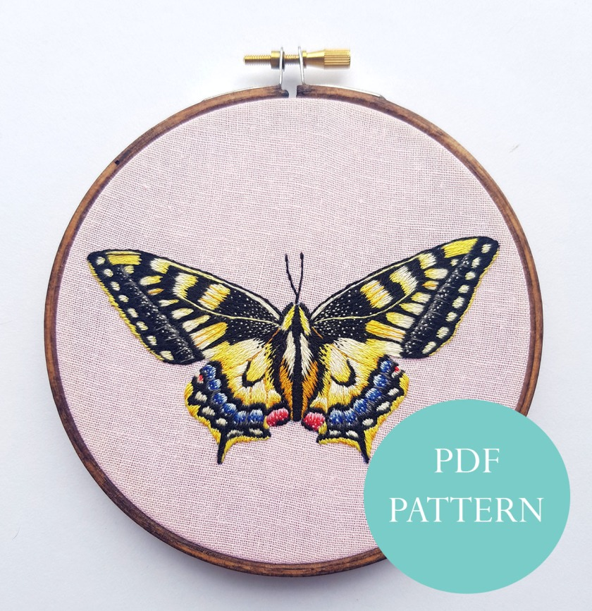 Yellow Butterfly, Embroidery Pattern Tutorial, PDF Digital Download, Hand Embroidery, Butterfly https://www.etsy.com/uk/listing/697183732/yellow-butterfly-pdf-digital-instant?ref=shop_home_active_4